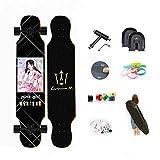 WRISCG Longboard Tabla Completa 107cm x 25cm 8 Capas de Madera de Arce Skateboard, Rodamientos ABEC...
