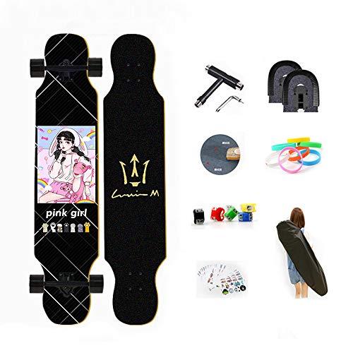 WRISCG Longboard Tabla Completa 107cm x 25cm 8 Capas de Madera de Arce Skateboard, Rodamientos ABEC Alta velicidad, 70x51mm Ruedas de PU, Drop-Through Freeride Skate Cruiser Boards,A