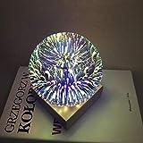 DAXGD Luz de noche de fuegos artificiales 3D USB Power, lámpara de cristal Lámpara decorativa de bola de cristal mágica, luz de mesa de esfera colorida