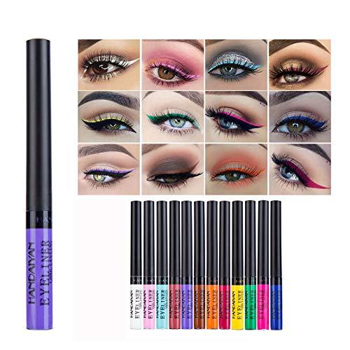 NFLOBD Colors Eyeliner, 12 colores de delineador de ojos de colores, lápiz de delineador de ojos líquido impermeable de larga duración para maquillaje de fiesta de boda
