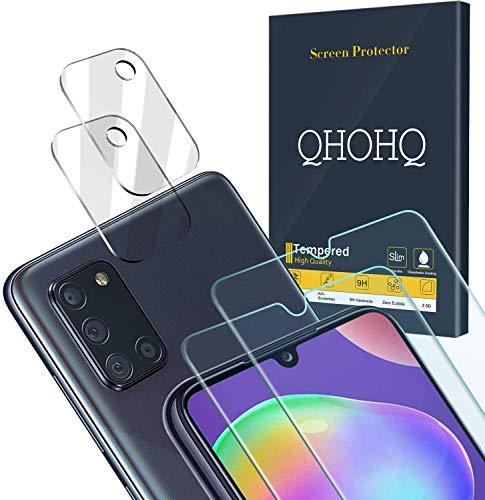 QHOHQ 2 Piezas Protector de Pantalla para Samsung Galaxy A31 con 2 Piezas Protector de Lente de Cámara, Cristal Templado Membrana, [9H Dureza] - HD - [Anti-Arañazos]