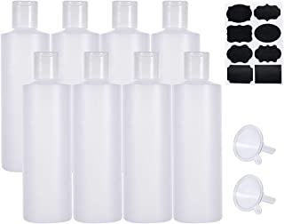 BENECREAT 8 Pack 8.5oz Frosted Plastic Press Cap Bottle, 2 Funnels and 8 Labels, for Shampoo, Shower Gel, Emulsion and Oth...