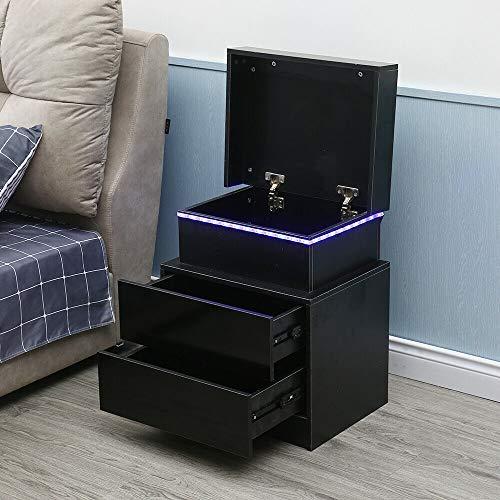 Kaibrite - Comodino a LED, lucido, con 2 cassetti, per camera da letto, soggiorno, 45 x 35 x 52 cm, colore: Nero