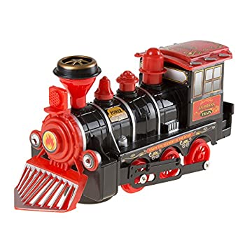 Hey! Play! Toy Train Locomotive Engine Car with Battery-Powered Lights Sounds and Bump-n-Go Movement for Boys and Girls Black