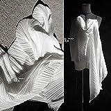 Tessuto al metro- Tessuto Plissettato Chiffon Di Design Abbigliamento Plissettato Tridimensionale, Bianco Sbiancato (45 Cm)