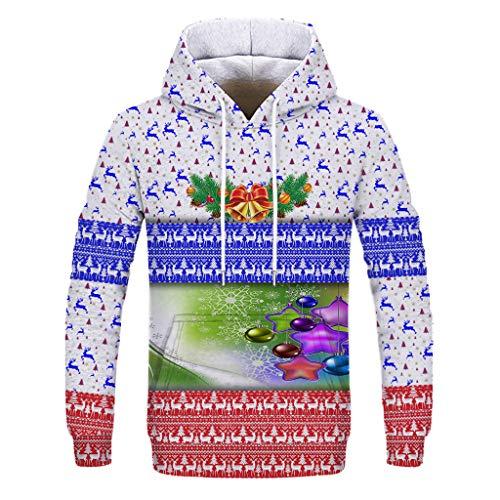 Kolylong® Pullover Herren Weihnachts Sweatshirt 22D Kapuzenpullover Hoodies Funny Design Weihnachts Hoodie für Weihnachtsfeiertags Party Langarm Freizeit Kapuzenpullis Jungen
