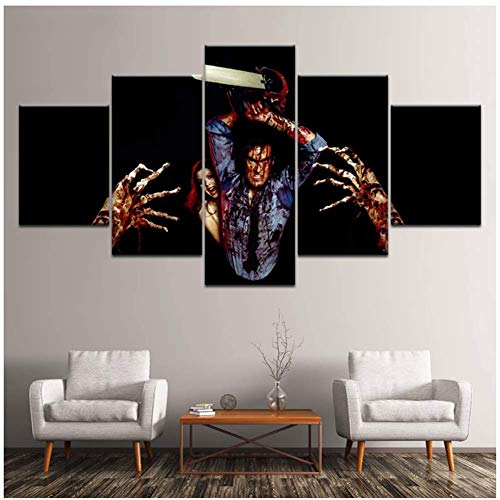 KONGQTE Canvas Horror Movie The Evil Dead 5 Pieces Wall Art Wallpaper Poster Print Living Room Home Decor-16X24 16X32 16X40 Inches Without Border