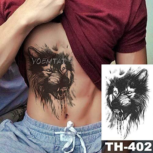 JXAA Skizze Tiger Tattoo Aufkleber Löwe Wolf wasserdicht Tattoo Krieger Krieger Flügel Körper Kunst Arm Tattoo männliche Dame 06-TH402