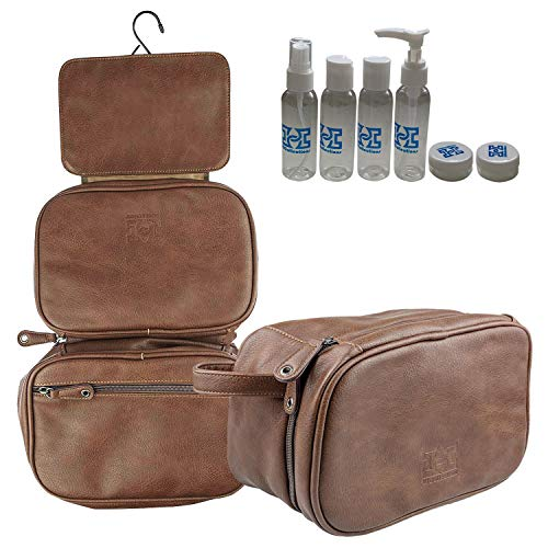HiCollections Mens Hanging Toiletry 3 Large Compartments Waterproof PU Leather Wash Bag Travel Organiser Kit with 4 Pics Bottles