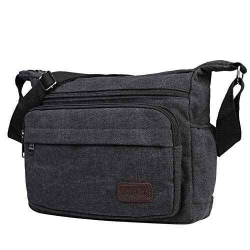 JAKAGO Waterproof Messenger Shoulder Bag Multi Pockets Crossbody Bag for for Men Women, Casual Travel Bag Canvas Handbag Briefcase for Working Shopping School Fishing Camping Hiking Daily Use (Black)