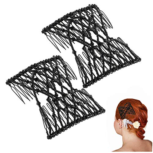 Haarspange Haarkamm, Haarspange Stretch, Magic Elastische Perlen Haarklammer, DIY Haar Styling Werkzeug für Damen Mädchen Haarschmuck(2pcs)