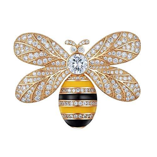 XinQing-Broche Little Bee Broche Hembra, Material de aleación, Accesorios de Cardigan con Broche de Aguja de Alto Grado, Dorado y Plateado, Regalo de cumpleaños 4,5 × 3 cm (Color : Gold)