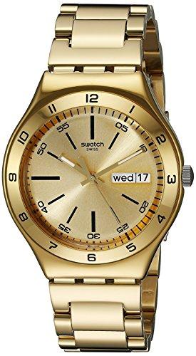 Swatch Yellow Medal YGG706G - Reloj analógico de Cuarzo Unisex con Correa de Acero Inoxidable, Color Dorado