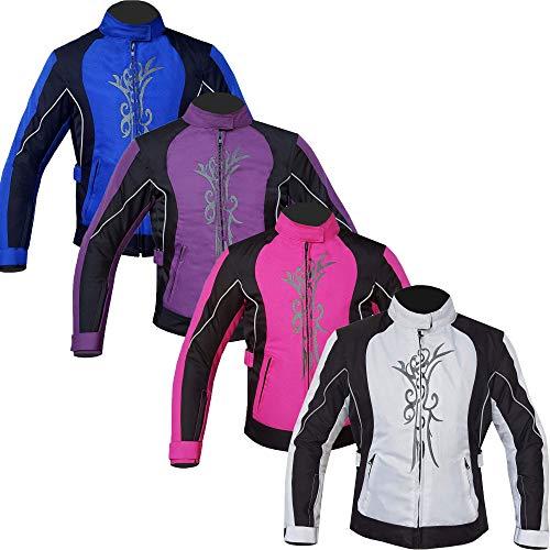 warrior gears Chaqueta de motocicleta bordada gráfica para mujer, chaqueta textil impermeable para mujer, Blanca - M