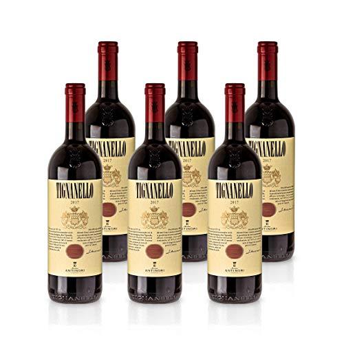 TIGNANELLO 2017 0,75L - Marchese Antinori, Rotwein Toskana Italien, Paket mit:6 Flaschen