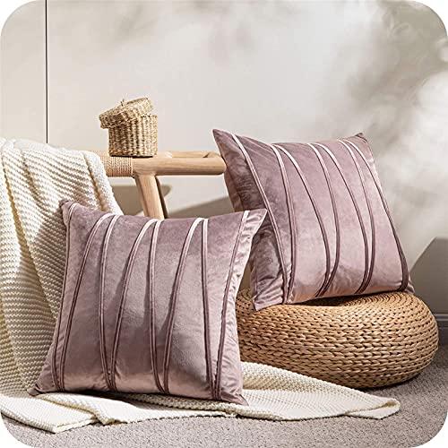 Top Finel Juegos 2 Hogar Cojín Terciopelo Suave Decorativa Almohadas Fundas de Color Sólido para Sala de Estar sofás 45X45cm Púrpura Claro