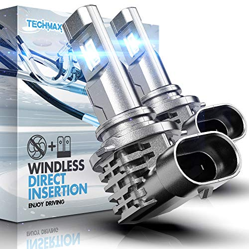 TECHMAX 9006 LED Headlight Bulbs,Windless Direct Insertion 50W 6500K Xenon White CREE Chips HB4 of 2