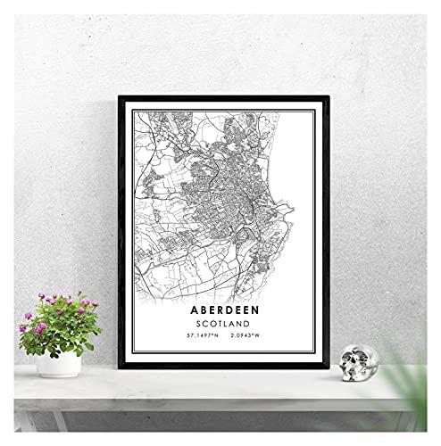 LTGBQNM Mapa de Aberdeen Imprimir Cartel Lienzo  Aberdeen Scotland Street Map  Aberdeen...