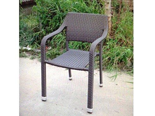 Chaise de jardin en poly-rotin empilables-coffee