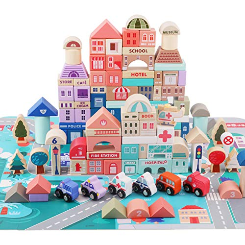Lewo 115 PCS Wooden Building Blocks with City Map Construction Building Sets City Building Blocks...