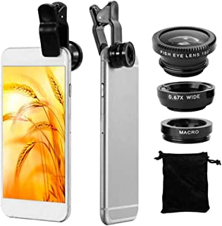 OcioDual Camara Lente Universal para Teléfono Móvil Ojo de Pez Macro Gran Angular Negro