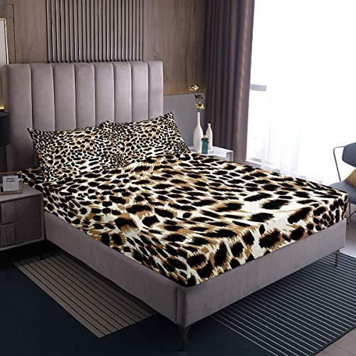 Juego de cama con diseño de leopardo, juego de sábanas de guepardo para niños y niñas y niños, sábana bajera, diseño abstracto, estilo animal, tamaño doble, 3 unidades