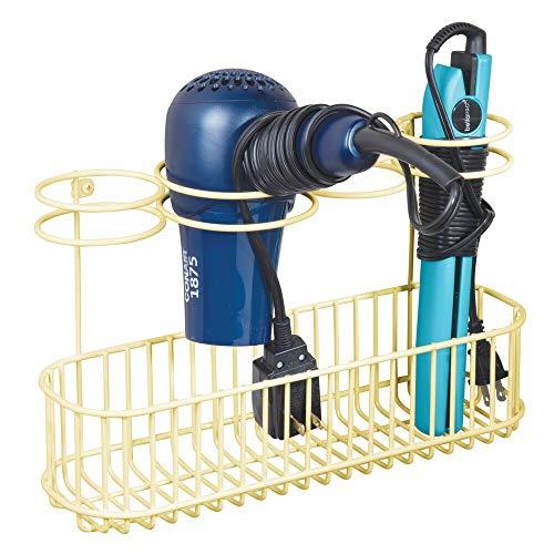 mDesign Soporte de Pared para secador de Pelo – Estante de baño de Metal con 4 Aros de Soporte y Gran Superficie de Apoyo – Organizador de baño para secador y rizador – Amarillo