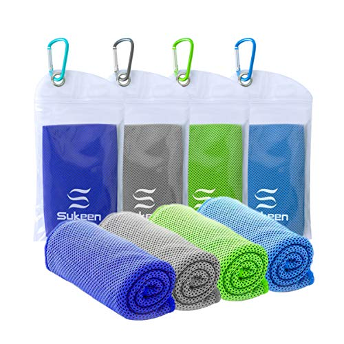 "[4 Pack] Cooling Towel (40""x12""),Ice Towel,Soft Breathable Chilly Towel,Microfiber Towel for Yoga,Sport,Running,Gym,Workout,Camping,Fitness,Workout & More Activities"