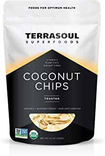 Terrasoul Superfoods Organic Toasted Coconut Chips, 12 Oz - Unsweetened   Unsalted   Perfectly Toasted Flakes