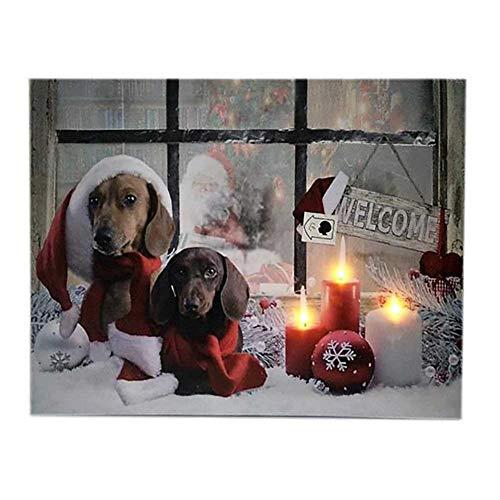 We Love Christmas Quadro LED Cani Natalizi 40x30cm
