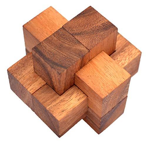 Teufelsknoten small, Notec Cube small Knobelholz Puzzle mit nur 6 Teilen, Urknoten, Holzknoten Puzzle, Holzpuzzle, IQ Puzzle, Tischlerknoten, Zimmermannsknoten, Puzzle, Knobelspiel, Interlock