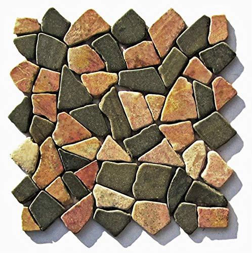 M-1-007 - 1 m² = 11 Fliesen - Naturstein Marmor Bruchstein Mosaikfliesen Lager Verkauf Stein-Mosaik Herne NRW