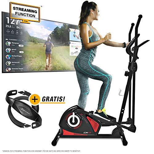 Sportstech CX608 Crosstrainer - Deutsche Qualitätsmarke - Video Events & Multiplayer APP & Bluetooth kompatibler Konsole, Gratis Pulsgurt, Ellipsentrainer, Tablet-Halterung-Ergometer, Heimtrainer