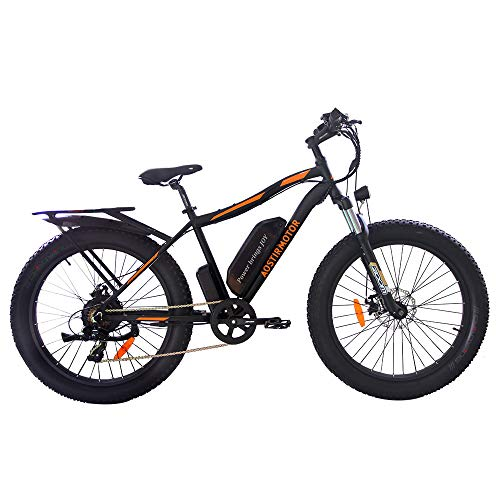 aostirmotor Electric Mountain Bike,Electric Bicycle with 750W Motor,48V 13AH Removable Lithium Battery, Ebike with Rack,26' 4.0 inch Fat Tire Ebike,Electric Bicycle for Adults (Black)