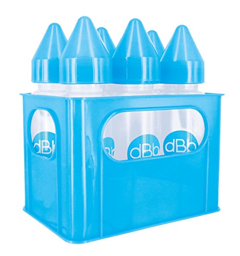 dBb Remond 6 Porte Biberons en Polypropylène Clair avec Tétine NN en Silicone Bleu Translucide 270 ml