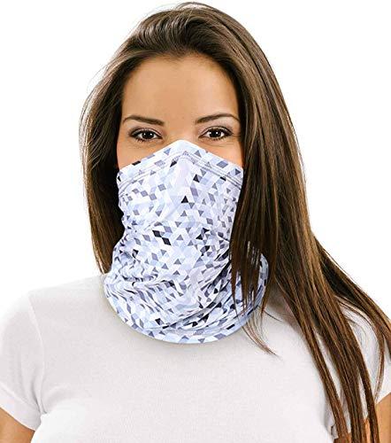 12 in 1 Multifunctional Neck Gaiter,Face Scarf Headwear for Unisex Men & Women (Gray Grid)