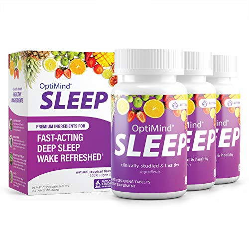 OptiMind Sleep (Formally RestUp), Fast-Acting Sleep Aid   Non-Habit Forming   Melatonin, Magnesium, 5-HTP, L-Theanine   Stabilize Your Sleep   Natural Tropical Flavor Fast Dissolving Tablets (90ct)