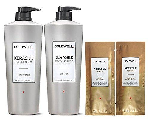 Goldwell Kerasilk Reconstruct Set - Shampoo 1L + Conditioner 1L + 2x Control Sachets