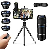 Phone Camera Lens, 5 in 1 iPhone Telephoto Camera Lens,12X Pro Telephoto+180° Fisheye+Star Filter Lens+Wide Angle and Macro Lens with Tripod & Remote Shutter for iPhone, Samsung, Pixel