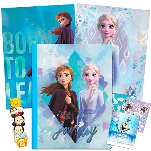 Disney Frozen 2 School Supplies Bundle ~ Set of 2 Frozen Folder Portfolios, Notebook, Stickers, and Bonus Bookmark (Frozen Office Supplies)