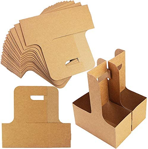Pralb 20Pack 2 Cup Kraft Paperboard Small Drink Carrier with Convenient Handles Professional product image