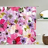 XCBN Cortinas de Ducha de Tela Impermeable con Flores, baño con Estampado 3D de Flores, decoración Floral, Cortina de Ducha, mampara de baño A9 150x180cm