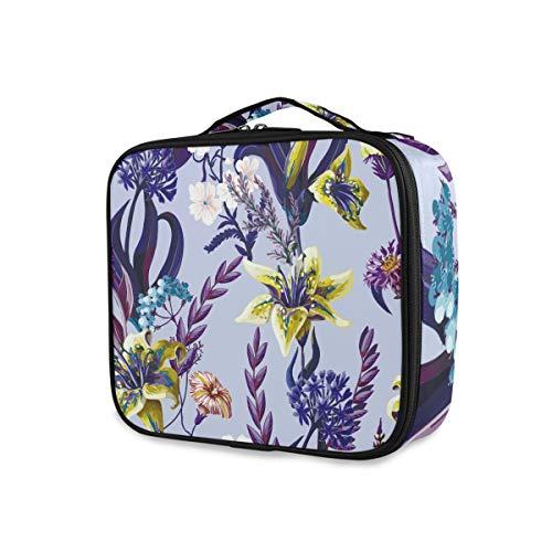 Trousse de Maquillage Professionnelle avec Motif Floral Tropical, Motif lys