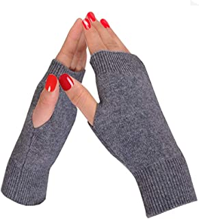 Half Fingerless Gloves Thumb Hole Cashmere Winter Warm Gloves Knit Mittens for Men Women