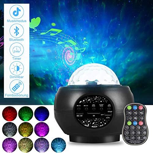 SerDa-Run LED Sternenhimmel Projektor lampe,Dimmbar Kinder Nachtlicht Nachttischlampe mit Timer/Bluetooth Lautsprecher/Fernbedienung,für Baby Erwachsene Geburtstag Party Weihnachten Zimmer Dekoration