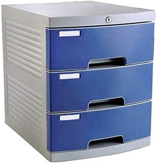 KANJJ-YU Tiroir de bureau Sorter 4 couches avec des informations Serrure de tiroir en plastique Bureau A4 Stockage Bleu 2...