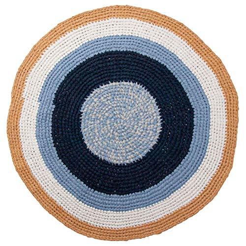Sebra Häkel-Teppich Kinderteppich rund aus Baumwolle 120 cm Durchmesser in Midnight/Vanilla