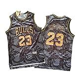 DRBY 2021 - Camiseta de baloncesto para hombre, color negro y dorado, modelo 23 de Jordan, chaleco deportivo sin mangas, transpirable, perfecto para la fiesta de los años 90, Jordan-M