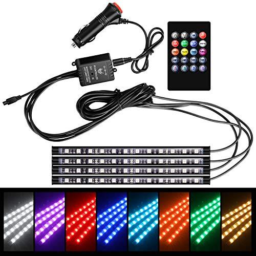 WinPower LED Innenbeleuchtung Auto für Fußraumbeleuchtung Kit RGB 5050 Musik Mehrfarbig Wasserdicht für Smartphone mit Fernbedienung Zigarettenanzünder Verbinder DC12V