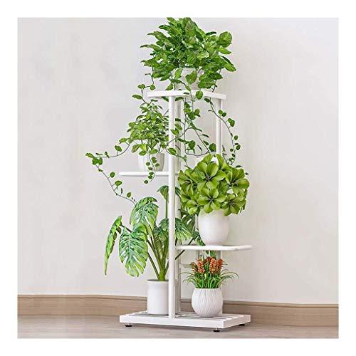 SBDLXY Soporte,Soporte para Plantas de 4 Niveles, Soporte para macetas de Hierro, Estante de exhibición de Plantas de Metal para Interior, Sala de Estar, decoración de jardín (Color: Blanco)